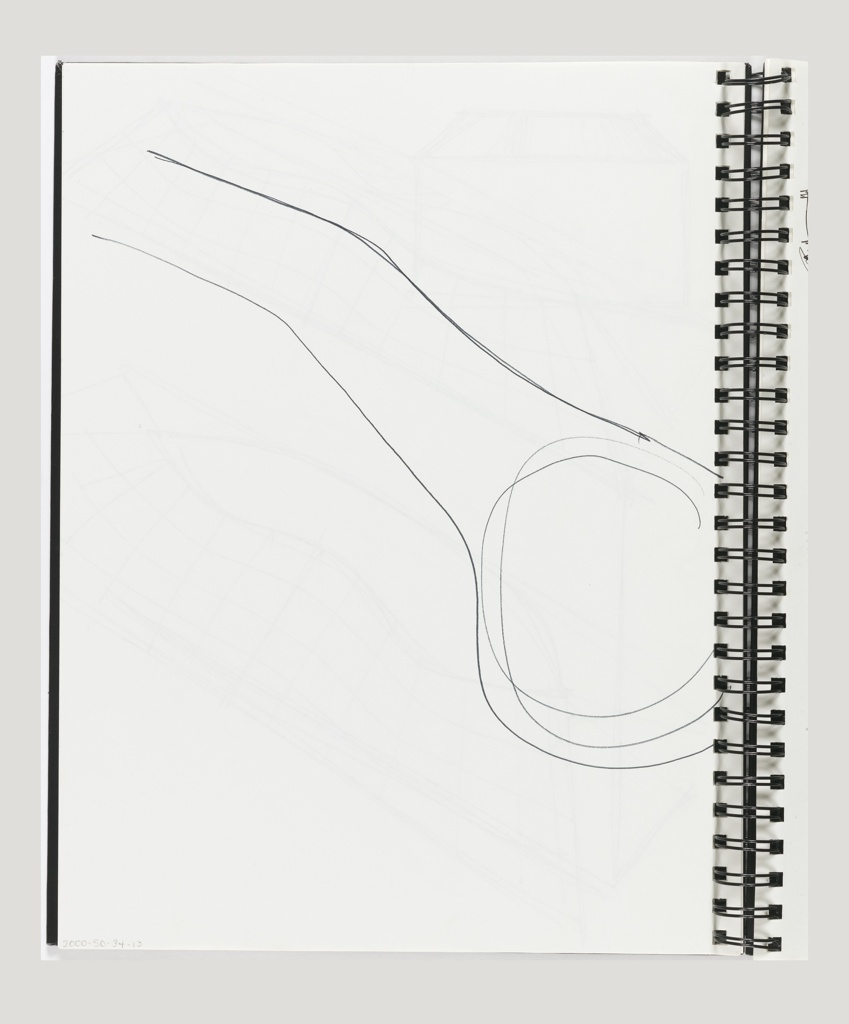 Spiral bound with shiny black covers and 15 leaves. Contains sketches pertaining to carpet for Directional USA (2000-50-34-3/4)  desk top objects (2000-50-34-7); building rooves and facades (2000-50-34-10/15).