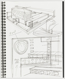 Sketchbook page bifurcated with a drawing of the exterior of the Semiramis Hotel in Athens, Greece as viewed from above left on upper portion of page and the pool area with details of the facade, roof, and architectural ornament on lower half of the page.