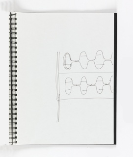 Spiral bound with shiny black covers and 15 leaves, contains sketches pertaining to carpet for Directional USA (2000-50-34-3/4)  desk top objects (2000-50-34-7); building rooves and facades (2000-50-34-10/15).  See entries for key individual pages.