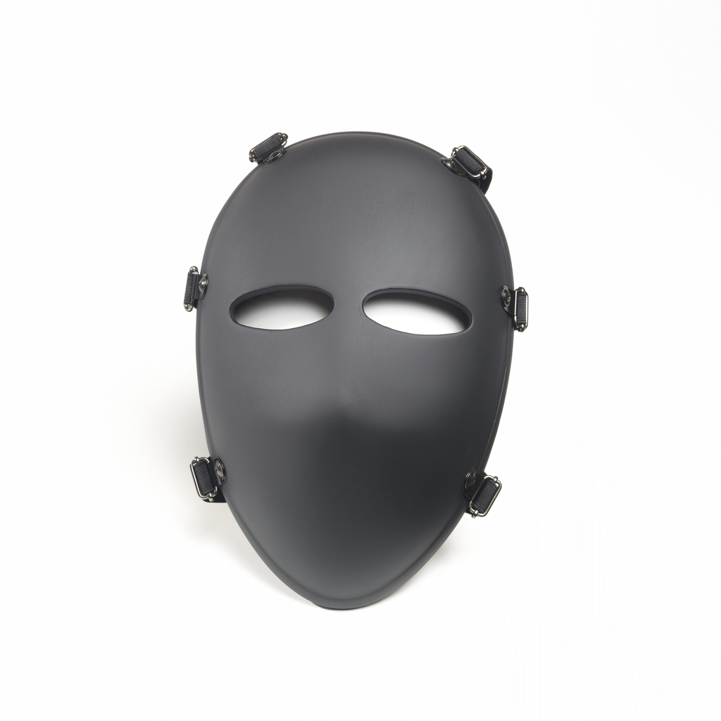 Ovoid shaped mask with two oval cutouts to accommodate the eyes. Convex shape. Six fasteners distributed evenly on either side of the mask.