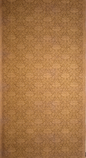 Scrolled treillage containing lotus flowers in shades of brown.