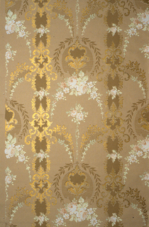 On tan ground, V-shaped central design composed of white and gold rinceaux containing cluster of white roses and arch of white roses. These motifs separated by vertical bands of scroll work and foliage in white and gold.