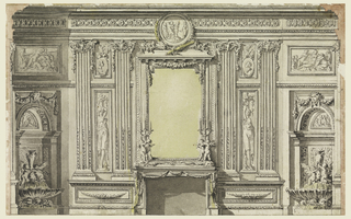 A looking glass is in the over mantel. Putti form bases of candelabra on mantle shelf. Flanking mantle are two women carrying baskets on their heads, medallions above, defined by fluted pilasters. In niches on either side are putti playing in shell-shaped fountains.