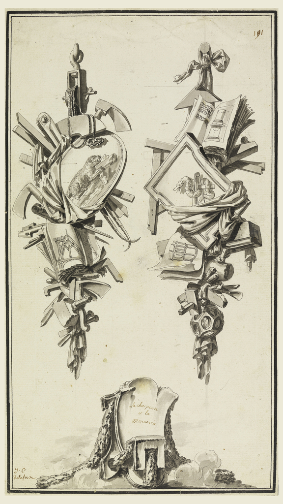 Drawing, A pair of trophies referring to the crafts of the cabinet maker and the carpenter