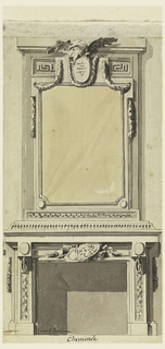 A trophy of weapons is shown over the fireplace. The over mantel includes a mirror and an eagle holding an ovoidal medallion with an inscription in the top center.