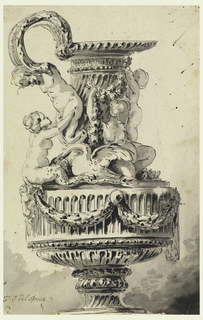 The handle is at left. Its bottom part consists of a satyr who is embraced by a mermaid seated on the shoulder of the ewer. A swan and two girls surround the neck of the vessel. The fluted body show festoons suspended from a faun's mask. S