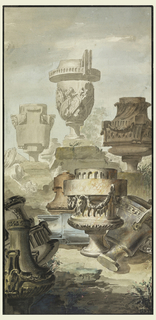 Assemblage of vases and urns in a classical cemetary. Some stand on pedestals, others are on the ground. At lower left the vases are on two applied pieces of paper. Bordered in brush and black ink.