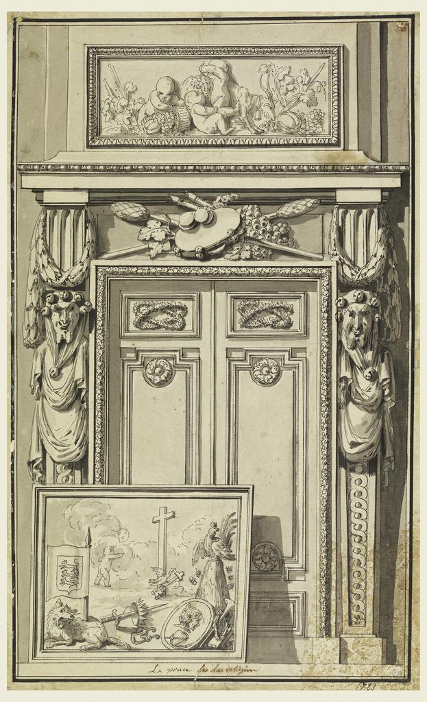 """Drawing, Portal Design,""""la Prusse et la Religion,"""" design for plate 40 in the """"Nouvelle iconologie historique..."""""""
