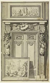 A doorway flanked by two draped grotesque figures. Before the doorway is a framed artwork depicting a cross and wolf pierced by a flag pole. Above door is a scene of cupids feeding each other grapes.