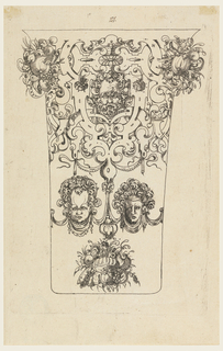 Under a scrollwork frieze with bunches of fruit and a bearded mask, are two masks connected by drapery festoons. Bunch of fruit, bottom.