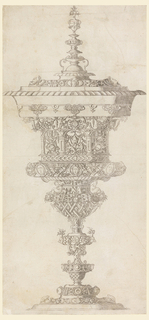 Elements of grotesque ornamentation, scrollwork, plated work, masks, trophies and other motifs appear in the decoration.