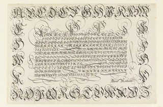 Letters various sizes inscribed on a sheet of paper.