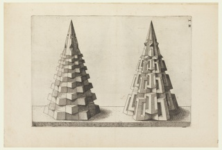 Two cones; left composed of layered hexagons; right composed of vertically-placed rectangles.