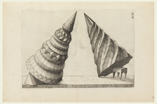 Two decorative cones pointed towards each other, leaning at angles, supported by a triangular prism at left and a rectangular stool with four triangular legs at right.
