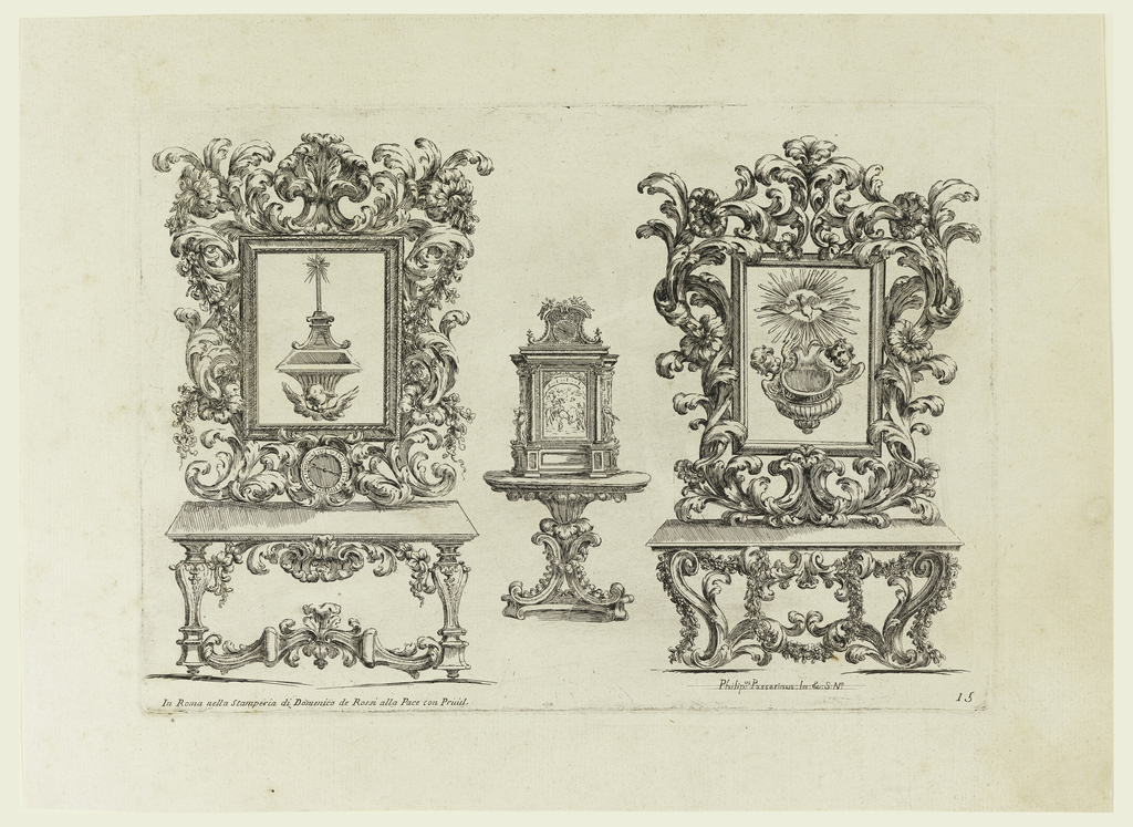 Two tables, surmounted by elaborate frames in which are set holy-water stoups, flank a smaller table on which rests a devotional picture in an elaborate architectural frame