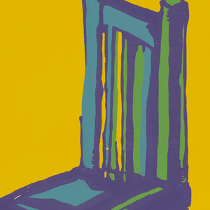 "On a yellow ground, black text in upper margin: ""film bulgaro en colores y cinemascope dirección: borislav sharaliev con: kosta tsonev maya / dragomanska yavo milushev / el reo / necesario."" At center, blue chair with green and purple highlights atop a cube."