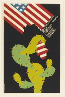 A two-toned green cactus tears a piece out of an American flag that hangs diagonally from upper left corner. Title, in white, runs along loweredge of flag, diagonally towards upper right corner: RETROSPECTIVA / DE LA / CINEMATOGRAFIA / CHICANA / PRIMER FESTIVAL / INTERNACIONAL / DEL NUEVO CINE / LATINOAMERICANO.