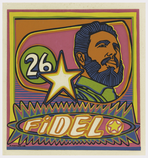 "At upper right, head of Fidel Castro facing right, number 26 and star at upper left in asymmetrical field; ""FIDEL"" and smaller star in elliptical field below. In psychedelic colors of pink, orange, green, yellow and blue."