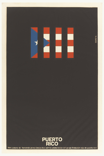 Puerto Rican Flag cut into four quadrants that are spaced equidistant apart and set against a black background.  Title in white runs along lower edge.