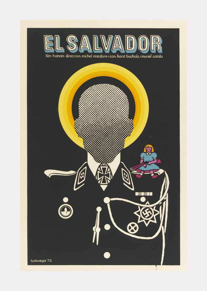 On a black ground a soldier in a Nazi uniform. His face is surrounded by a yellow halo and covered by Benday dots. On his left shoulder sits a young girl in a blue dress with orange hair holding a rifle which is directed at his neck. Title runs across top: EL SALVADOR / film francés direccion: michel mardore/con: horst bucholz/muriel catala