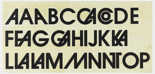 Black upper case letters for the Avant Garde typeface, arranged in three horizontal rows. Includes variations of principal letters.