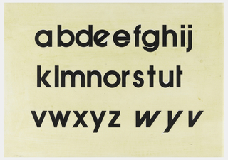 Black lower case letters from the Avant Garde typeface. Includes variations of the letters e, t, w, y, and v. Missing the letters c, p, and q.