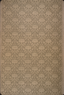 Scrolled treillage containing lotus flowers in shades of tan.