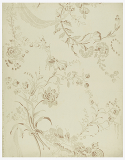 One repeat of design of scattered floral clusters-stock, carnation, and other flowers-joined by festooned drapery. Printed in browns on neutral yellow ground.