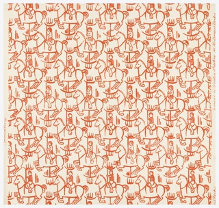 Children's wallpaper, drawn in outline form, a parade of children riding the wooden horses on the merry-go-round. Printed in red on white ground.