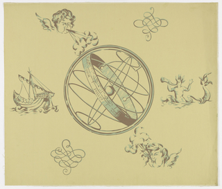 "Large sphere with the equator band printed with the signs of the zodiac and the months of the year in French. To the upper right and lower left are flourished. To the upper left and lower right are putti blowing to create a breeze. At the left center line is an old viking sailing boat, at the right is a merman blowing a Triton's conch. Printed on reverse side: ""Renverne Hand Printed, 'Voyage of Discovery', Design 44 Job 1052 Stock 595"". This is to be applied to the wall horizontally. Printed in green and brown on gold field."