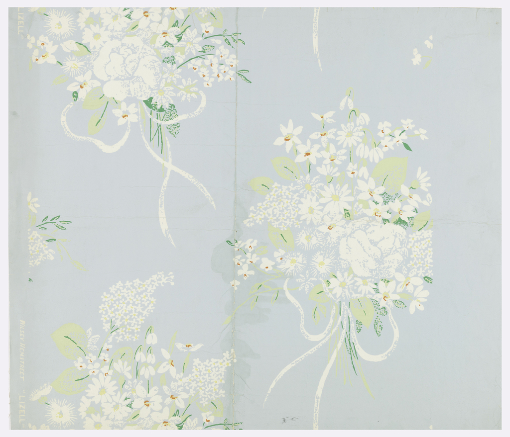 """Bouquets of white flowers (roses, violets, snow drops, lilacs) tied with white ribbon arranged as drop repeats. Printed in white, yellow, green and red on pale blue ground. Marked on face: """"Wilsey Hemstreet 'Lizell'"""". Marked on back: """"Wilsey-Hemstreet 515 Madison Ave. New York N Y""""."""