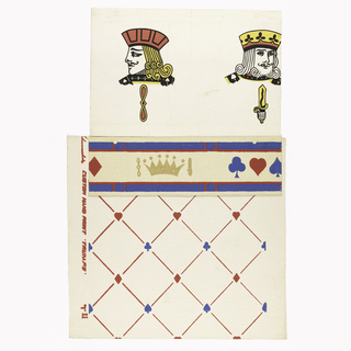 "a) A design of diagonal narrow red lines running in opposite directions. At points of intersection there is a row of blue spades and clubs alternating with red hearts and diamonds. On rough weave embossed field. Printed in selvedge: ""Schumacher's Custom Hand Print, Trumps"". b) Large scale bust of king and jack in gold, black and red on smooth ivory field. c) Border with blue band also red top and bottom with blue club and spade between red heart and diamond. A gold crown separates each group. On rough weave embossed field."
