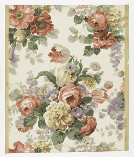 Large drop-repeating design with large cluster of roses as major motif. Two minor clusters. Pink roses predominate. Tulips, morning glories, and lilacs are included.