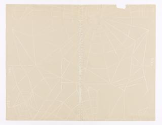 Irregular design of spider web in white line, printed on buff ground.