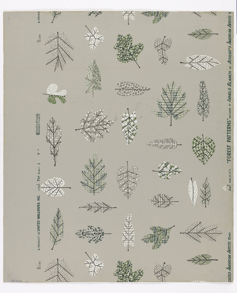 Freely drawn single leaves in random arrangement. Stems and veins in black line. Dots and lines and free forms in various patterns used for leaf surfaces, which are colored in combinations of greens, gray and white.