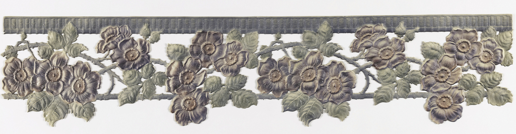 Floral pattern of roses growing on the vine, suspended from a top band of wicker or other material.