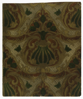 "Copied from a collection of old tooled leathers at The Hague, Netherlands. A large central motif suggestive of pineapple with five tulips sprouting from the top. Enclosed in a foliage design of acanthus leaves with a small geometric design between them. Practically entire surface of design in gold, silver and green embossed. Cedar red field is plain. Entire surface is antiqued by hand. On reverse is printed: ""8104-4""."