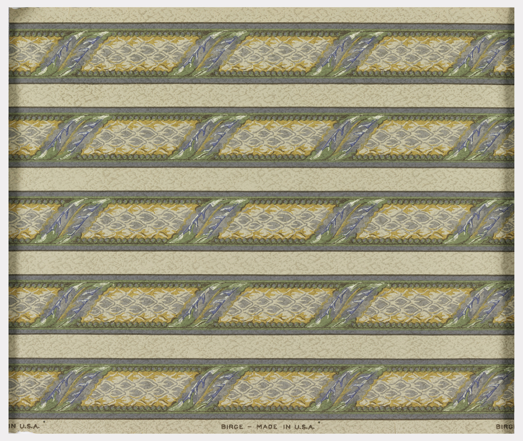 Narrow borders, printed five across. Multi-colored rod with leaf wrapped around at intervals.