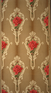 On a vertically striped ground in tan and brown, pattern of red roses and stems inside shape of hand mirror, scroll-like decoration.