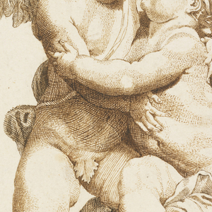 A male and female cupid in the form of a sculpted group. The female sits upon a stone on which the male cupid kneels on his left leg.