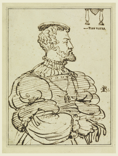 Portrait of a beared man in profile.