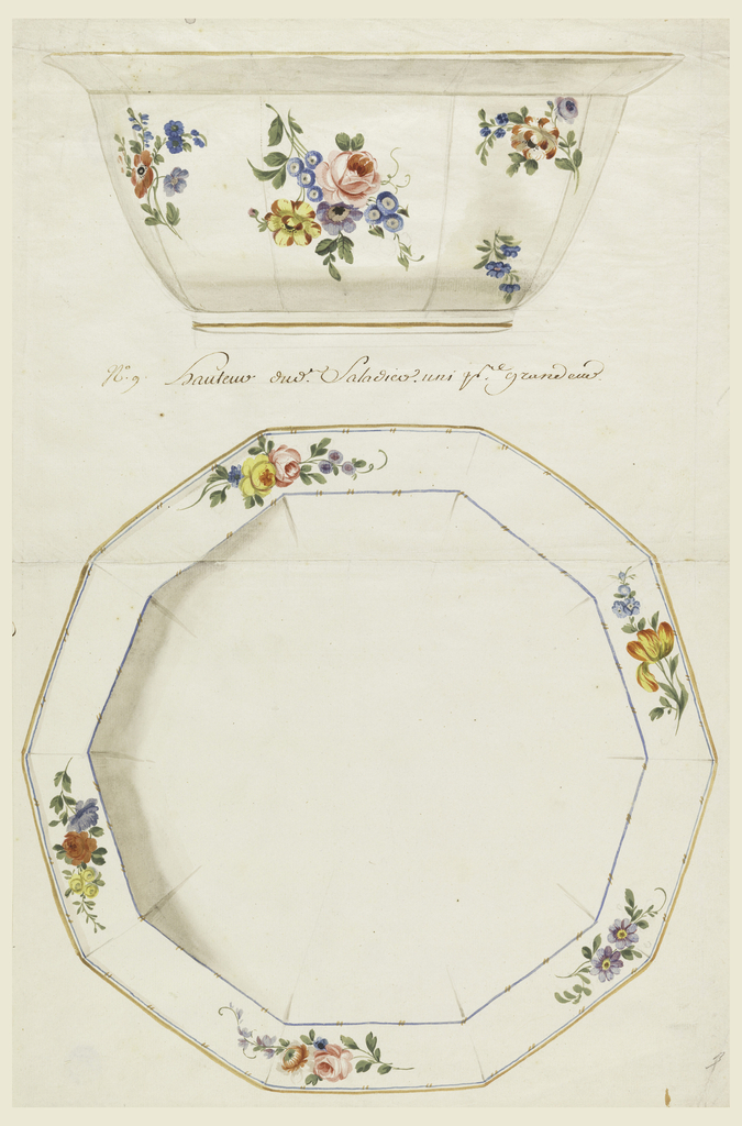 View of decagonal salad bowl (after a silver form) in elevation (above) and plan (below) with scattered floral sprays. View of bowl in plan shows rim of bowl decorated with five floral clusters. Blue and gold border lines.