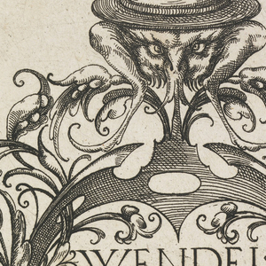 Octagonal print of title page showing vegetal cartouche containing title, with insects and fantastic creature wearing a hat.