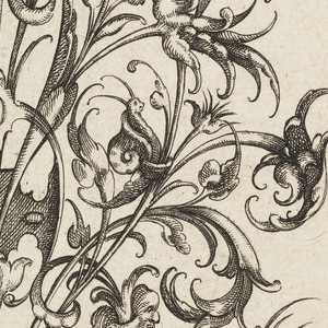 Octagonal print showing a nosegay plant; two grotesque head-monsters flank the bottom of the plant; symmetrical arabesque motif with creatures.