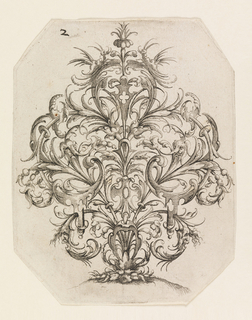 Octagonal print showing a symmetrical architectural arabesque motif with creatures. Masks in the lowest scrolls, grotesque insects flanking the top.