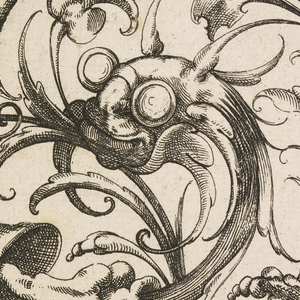 Rising from the left bottom corner grotesque animals are shown; spiral vegetal motif; fish-like creature.