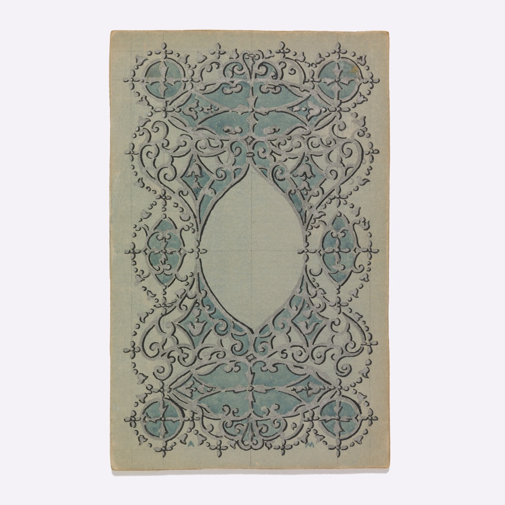On a green-gray ground, almond-shaped cartouche with foliate, spiral, and other decorative patterns.