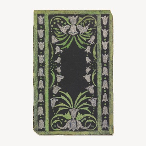On black ground, framed in green, white tulips along edges and grouping of tulips upper and lower.