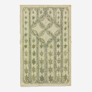 On light green ground, vertical registers containing green stars; upper center four overlapping circles with gold details inside. Verso: graphite sketches.