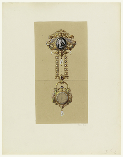 Design for a diamond-encrusted golden watch hanging from a heavy golden brooch (chatelaine). Ornamented in neo-Renaissance style with pearls and rubies, this stunning jewel features a golden hour-glass and a figure of Father Time holding a scythe. Winged female sea creatures support the brooch and watch case.